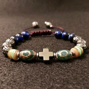 Handcrafted Blue TigerEye,Agate & Metal Bracelet